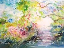 Het schilderen op zijde. Dromerig bos met sleep en persoon. vector illustratie