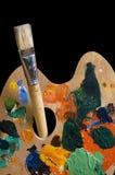 Het schilderen: palet en borstel Royalty-vrije Stock Afbeelding