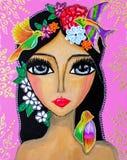Het schilderen, portret van een jonge vrouw met grote ogen, met bloemen op haar hoofd en kolibries, heldere kleuren royalty-vrije illustratie