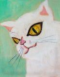 Het schilderen roze kat Royalty-vrije Stock Afbeeldingen