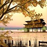 Het schilderen stijl van Chinees landschap Stock Foto's