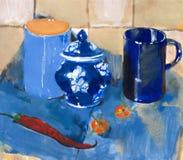 Het schilderen. Stilleven met blauwe koppen en peper Royalty-vrije Stock Fotografie