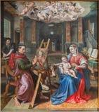 Het schilderen van Antwerpen - van Heilige Luke van Madona door Maerten DE Vos van jaar 1602 in de kathedraal van Onze Dame Stock Foto