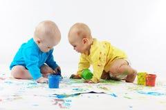 Het schilderen van babys Royalty-vrije Stock Afbeelding