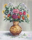 Het schilderen van Bloemen in een Afrikaanse Vaas Stock Afbeelding