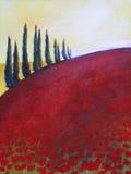 Het schilderen van bomen op heuvel Royalty-vrije Stock Afbeelding