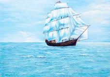 Het schilderen van de boot op de oceaan royalty-vrije stock afbeelding