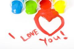 Het schilderen van de Dag van valentijnskaarten Royalty-vrije Stock Fotografie