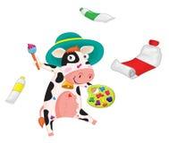Het schilderen van de koe Stock Afbeelding