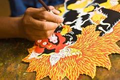 Het schilderen van de marionet stock afbeelding