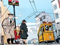 Het schilderen van de muurschildering in Brussel royalty-vrije illustratie