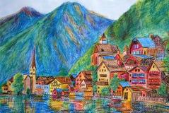 Het Schilderen van de pastelkleur - Oostenrijk Hallstatt Royalty-vrije Stock Afbeeldingen