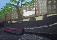 Het schilderen van de rivier van Amsterdam Royalty-vrije Stock Afbeeldingen