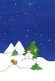 Het schilderen van de sneeuwman Stock Foto