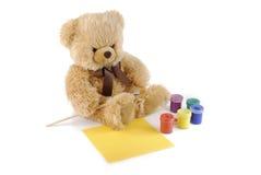 Het schilderen van de teddybeer kleuren Royalty-vrije Stock Foto's