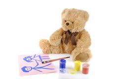 Het schilderen van de teddybeer kleuren Stock Afbeeldingen