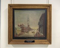 Het schilderen van de Tweede Presbyteriaanse Kerk op Boogstraat, Philadelphia stock afbeeldingen