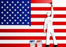 Het schilderen van de Vlag van de V.S. Stock Fotografie