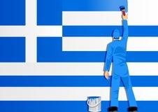 Het schilderen van de Vlag van Griekenland Stock Foto