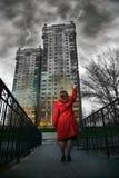 Het schilderen van de vrouw gebouwen Royalty-vrije Stock Afbeelding
