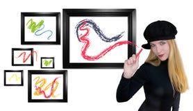 Het Schilderen van de Vrouw van de kunst uit de Doos Stock Foto's
