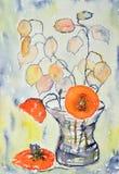 Het schilderen van de waterverf, bloemen stock afbeeldingen