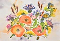 Het schilderen van de waterverf, bloemen royalty-vrije stock foto's