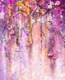 Het Schilderen van de waterverf De lente purpere bloemen Wisteria Stock Foto