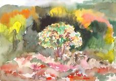 Het Schilderen van de waterverf Kleuren van de herfst royalty-vrije illustratie
