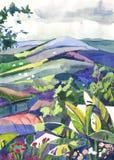 Het schilderen van de waterverf landschap Stock Foto's