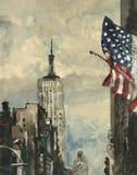 Het schilderen van de waterverf van de scène van New York Stock Foto