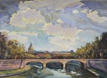 Het schilderen van de waterverf van Rome royalty-vrije illustratie