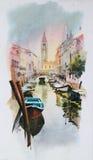 Het schilderen van de waterverf van Venetië Royalty-vrije Stock Foto