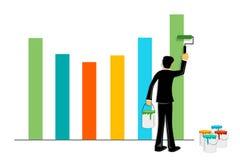 Het schilderen van de zakenman grafiek Stock Foto