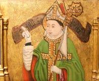 Het schilderen van een Bischop in de Kathedraal van Burgos stock foto