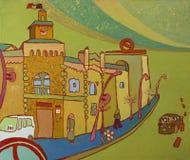 Het schilderen van een burgemeestergebouw in Chisinau vector illustratie