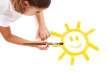 Het schilderen van een gelukkige zon Royalty-vrije Stock Afbeelding