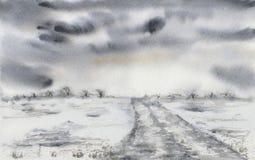 Het schilderen van een landschap met stormachtige wolken en een weg Stock Foto's