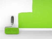 Het schilderen van een lege muur. Het huis van de vernieuwing Royalty-vrije Stock Fotografie