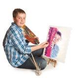 Het schilderen van een portret Royalty-vrije Stock Foto's
