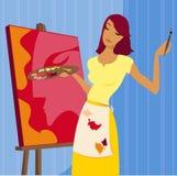 Het schilderen van een Portret Stock Afbeelding