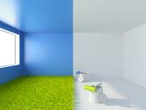 Het schilderen van een ruimte. Binnenlandse 3d illustratie Stock Fotografie