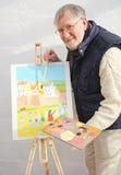 Het schilderen van een strandscène Royalty-vrije Stock Foto