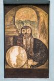 Het schilderen van een uil over tovenaars` s huis royalty-vrije stock foto's