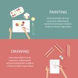 Het schilderen van en het trekken van banners Creatief Procesconcept Stock Afbeeldingen
