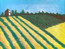Het schilderen van Frans platteland met een Toren en gebieden Stock Afbeeldingen