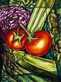 Het schilderen van groenten Stock Fotografie