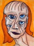 Het schilderen van het gezicht van een vrouw stock illustratie