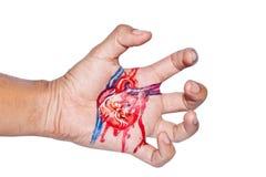 Het schilderen van het Hart van de scheur op hand Stock Afbeelding
