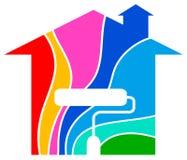 Het schilderen van het huis embleem royalty-vrije illustratie